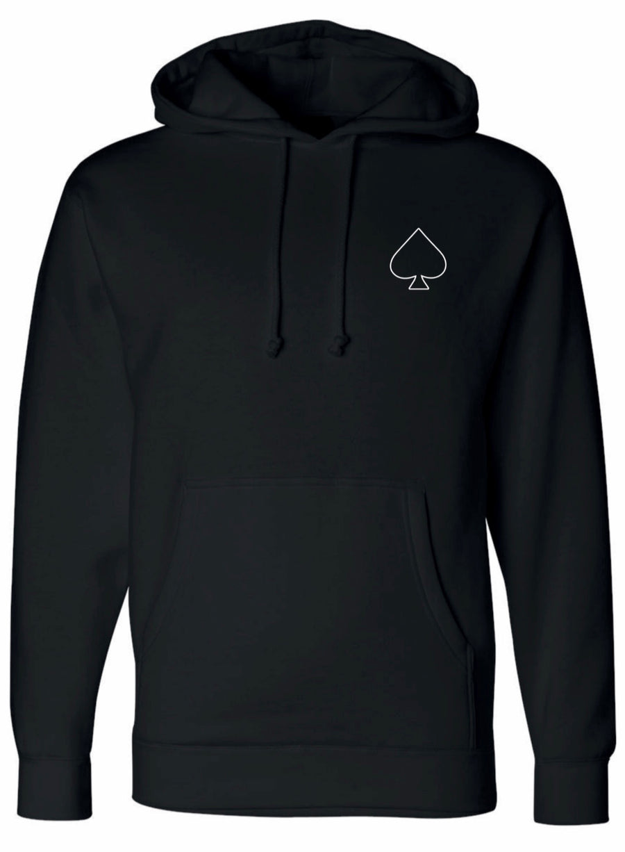 Youth Hoodie - Black Ace Family Spade Outline