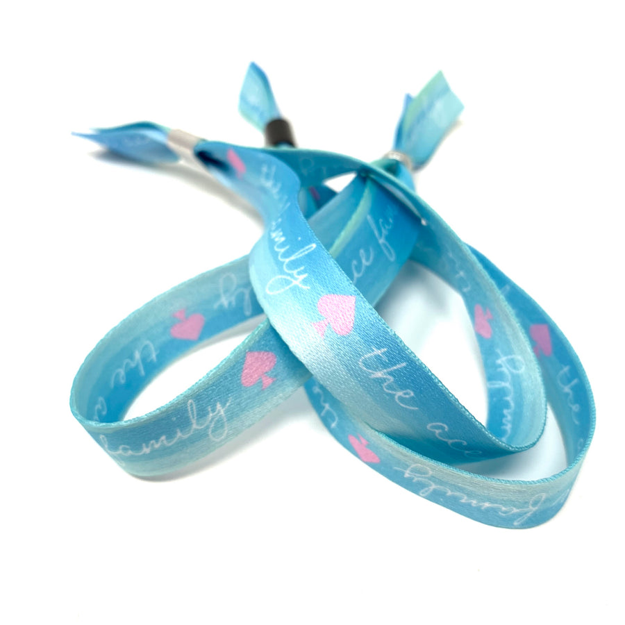 Wristband - Cloth Blue Cursive