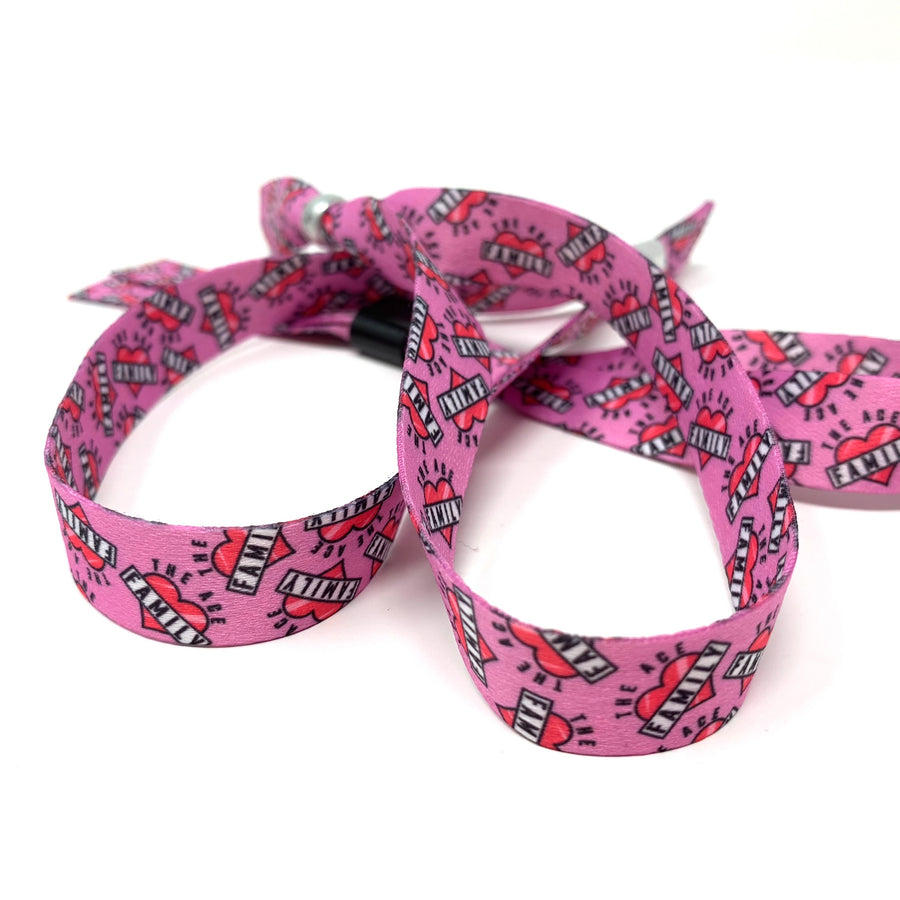 Wristband - Cloth Pink Heart