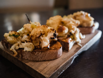 ROAST CAULIFLOWER CAPONATA BRUSCHETTA