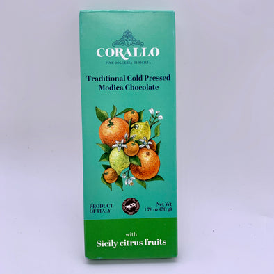 Modica Cold Pressed Chocolate with Sicily Citrus Fruits 1.76 oz