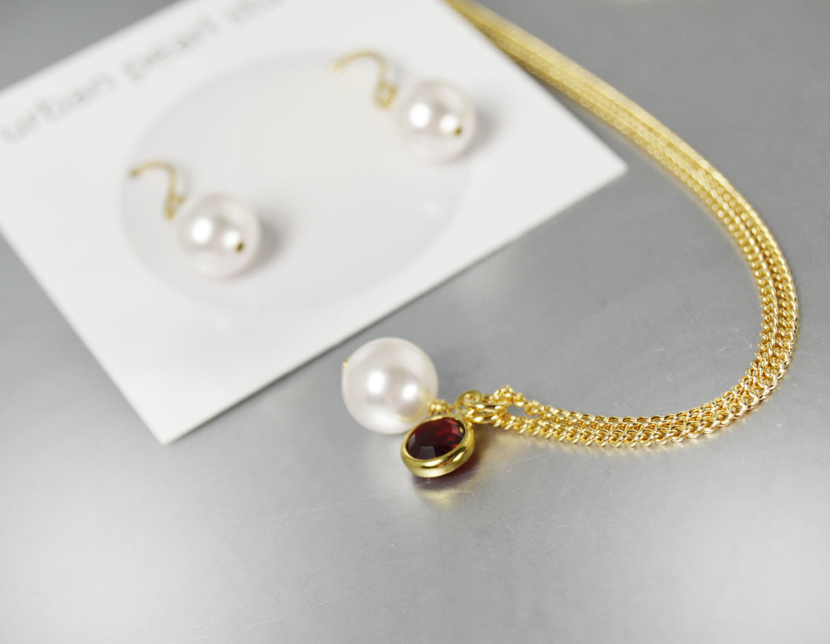 Pearl Necklace on Gold Chain Drop Earrings Bridesmaid's Gift Set Cranberry Wedding