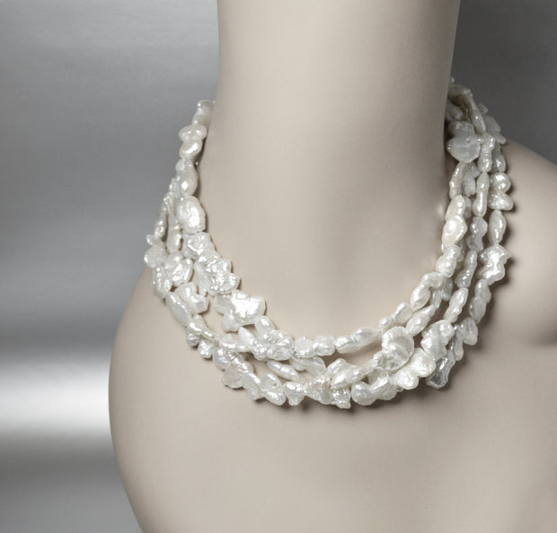 Multi Strand Pearl Necklace Baroque Pearls Multistrand Twisted Necklace