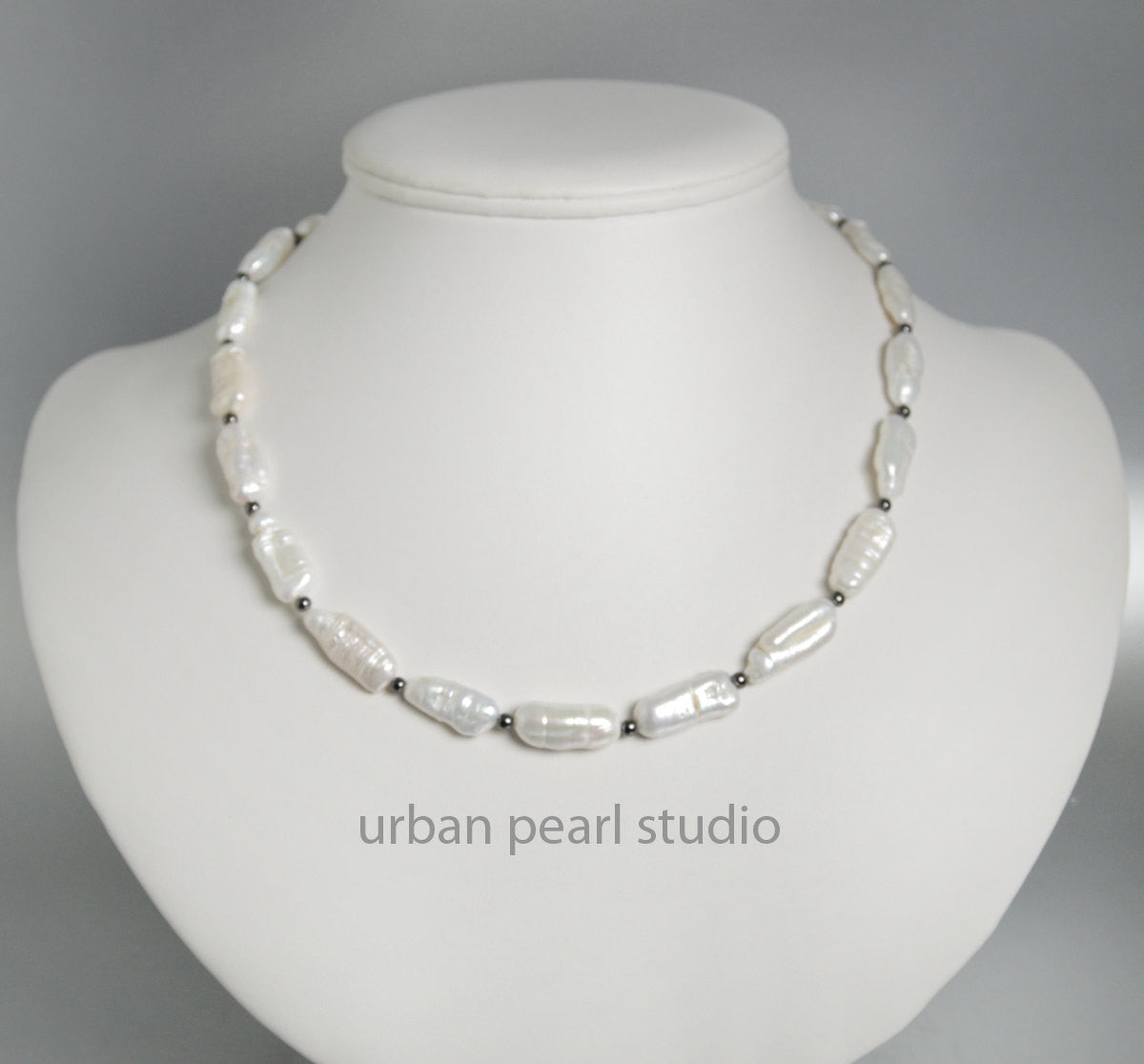 Modern Organic Pearl Necklace Biwa Stick Pearl Necklace