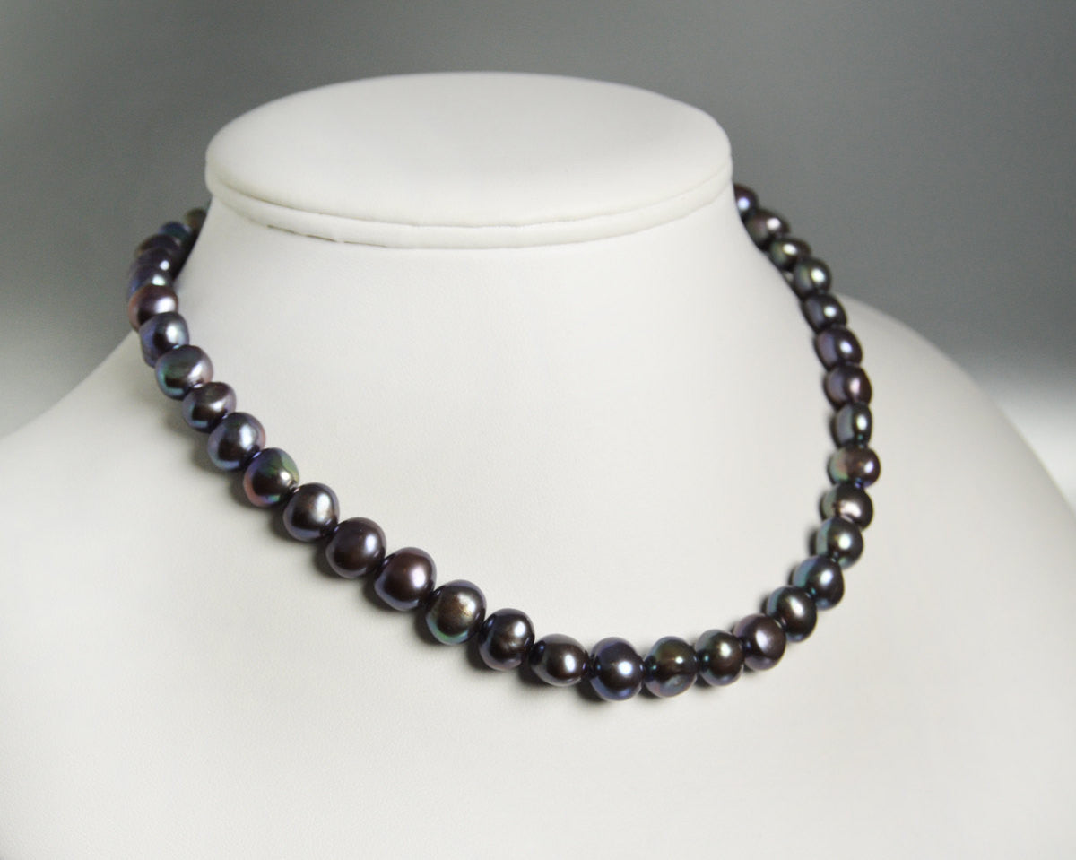 Black Pearl Necklace Freshwater Pearl Choker Simple Strand Pearls