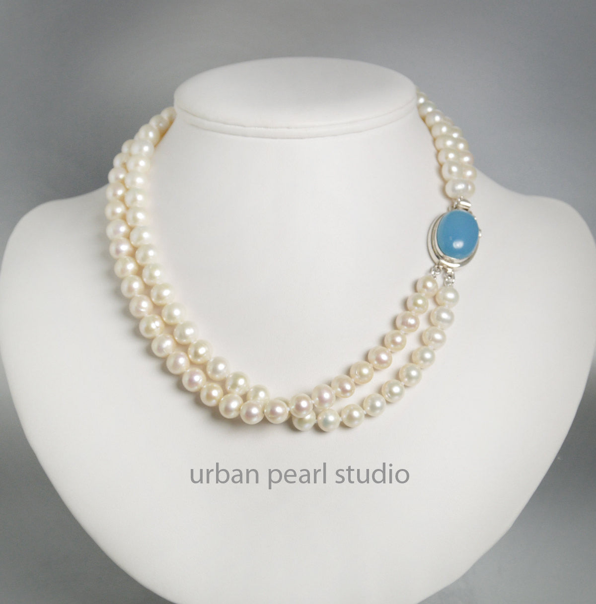 Multi Strand Pearl Necklace Sterling Silver Box Clasp Blue Chalcedony Gemstone Clasp
