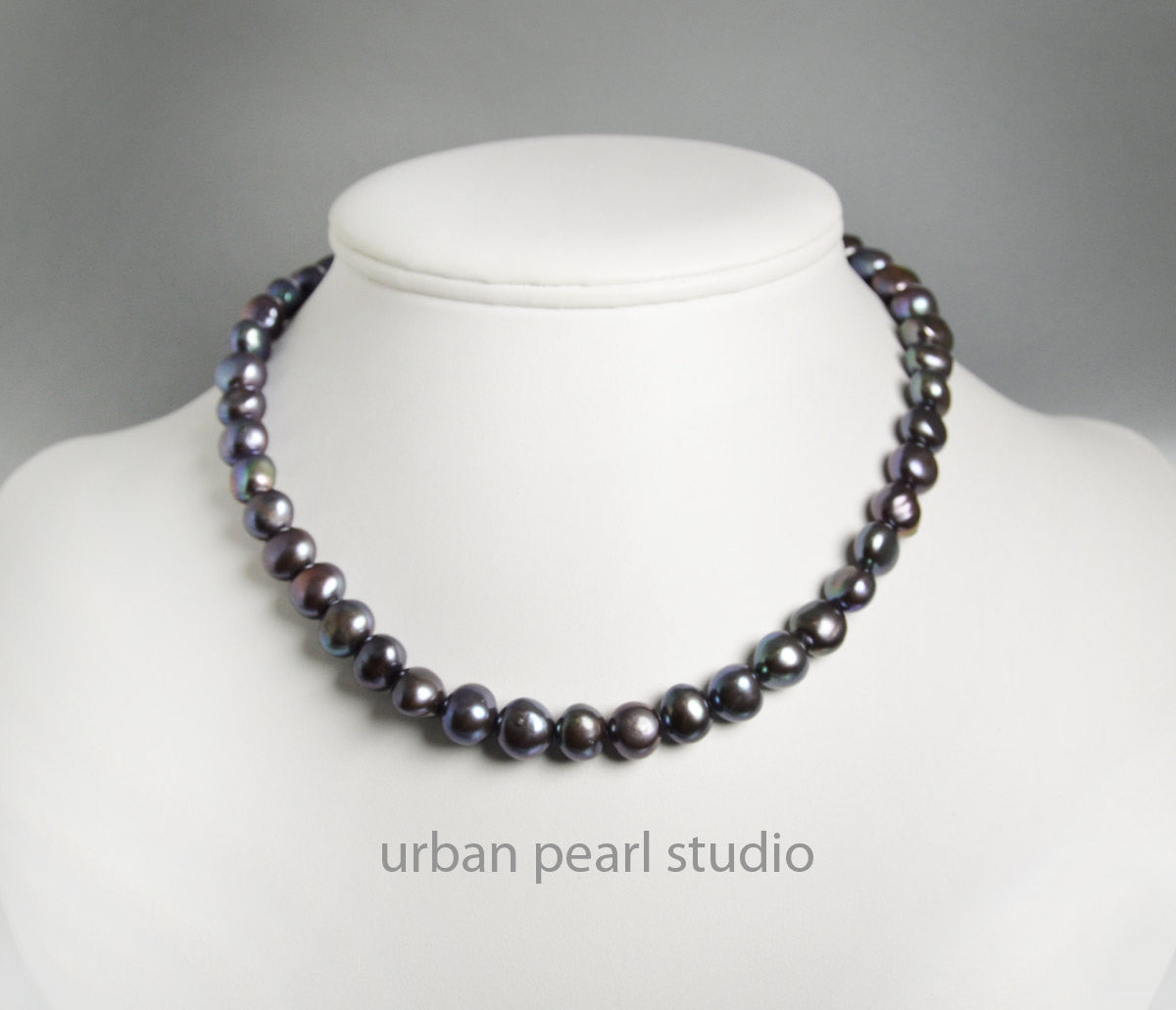 Black Pearl Choker Necklace Peacock Pearls Simple Strand