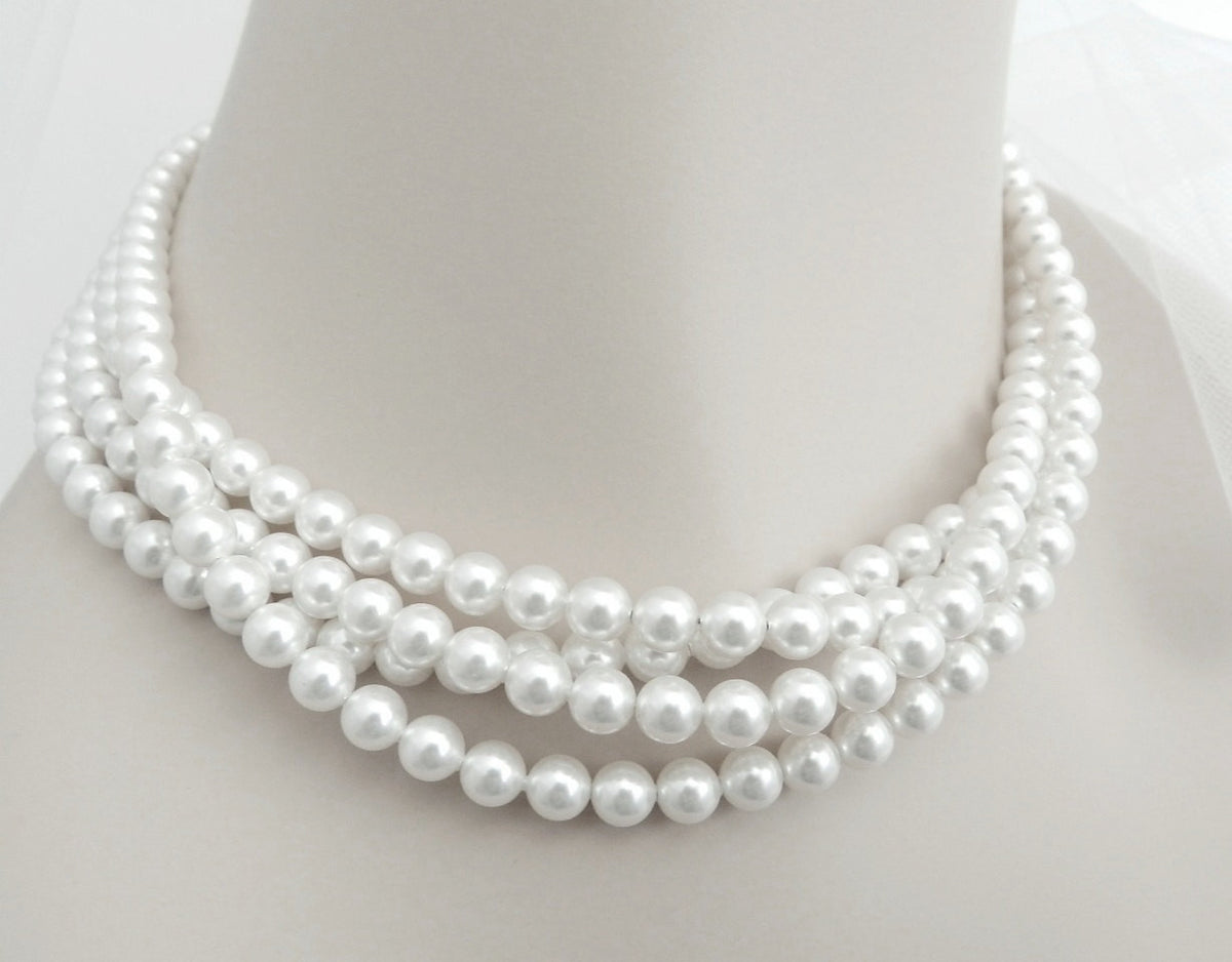 Multi Strand Pearl Necklace Swarovski Soft White Choker Necklace