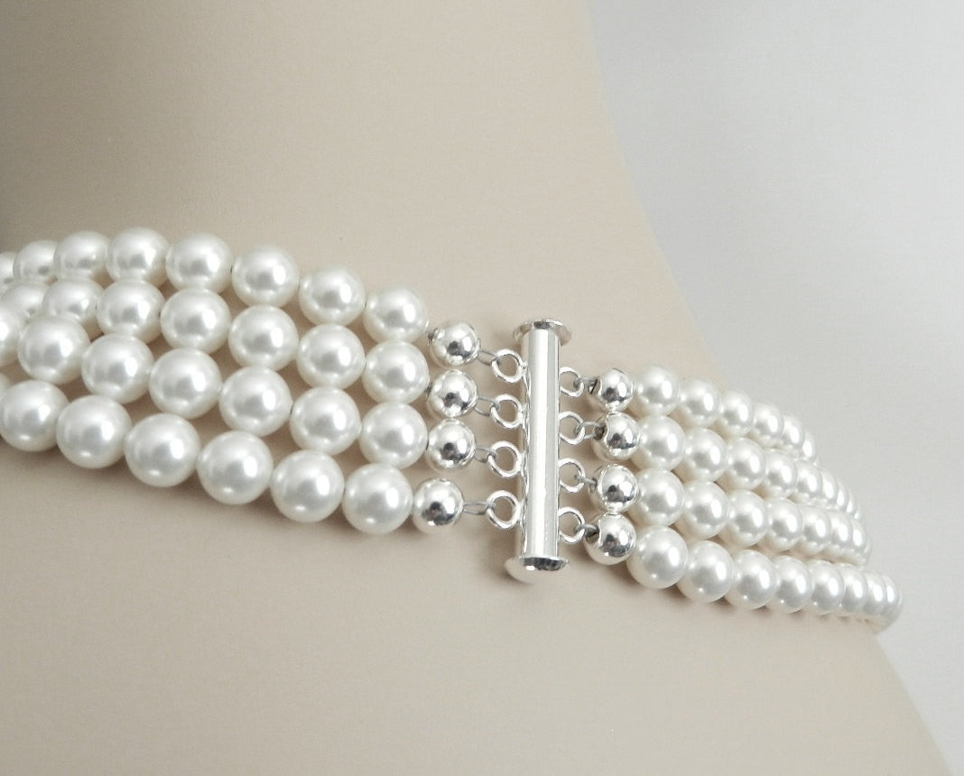 Multi Strand Pearl Necklace- Swarovski Pearl Choker Necklace in Soft White Pearl Bridal Necklace