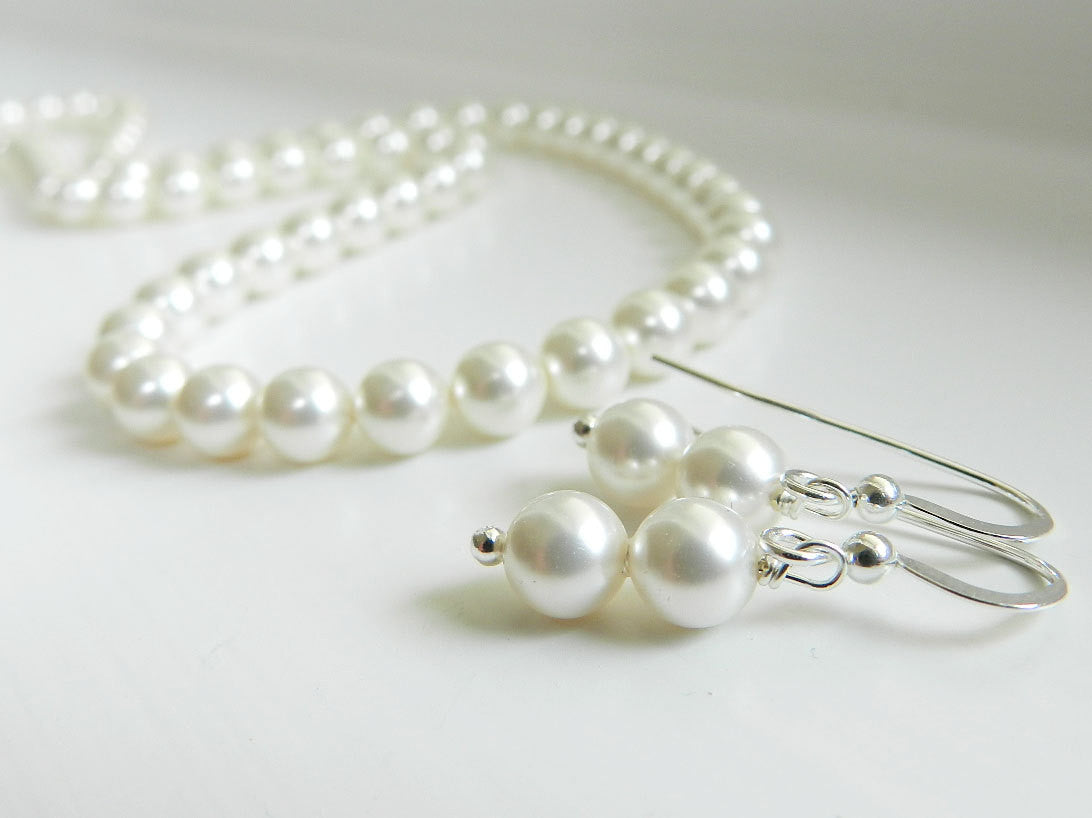 Petite Pearl Necklace Earrings Set - Soft White Swarovski Pearl Bridesmaids Gift