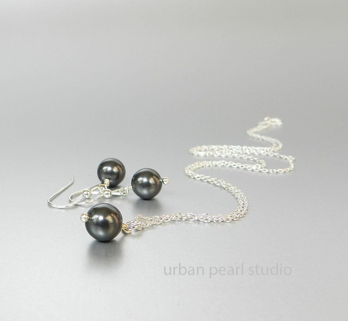 Single Black Pearl Drop Necklace Earrings Set Bridesmaids Gifts