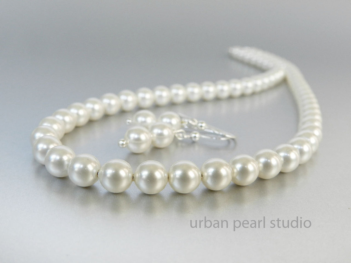 Petite Pearl Necklace Earrings Set Soft White Swarovski Pearl Choker Necklace