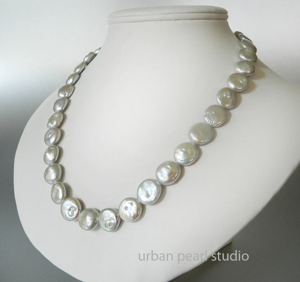 Silver Gray Coin Pearl Necklace Earrings Baroque Pearl Choker