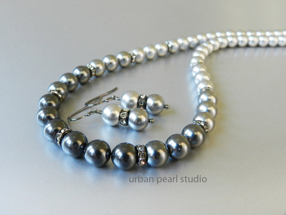 Shades of Gray Pearl Necklace Earrings Set Ombre Pearl Bridesmaid's Jewelry