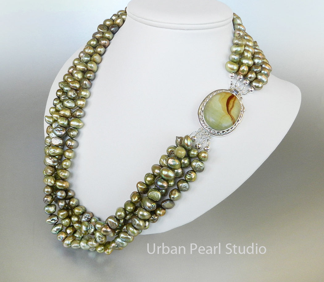 Multi Strand Pearl Necklace Olive Sage Green Picture Jasper Big Silver Gemstone Clasp