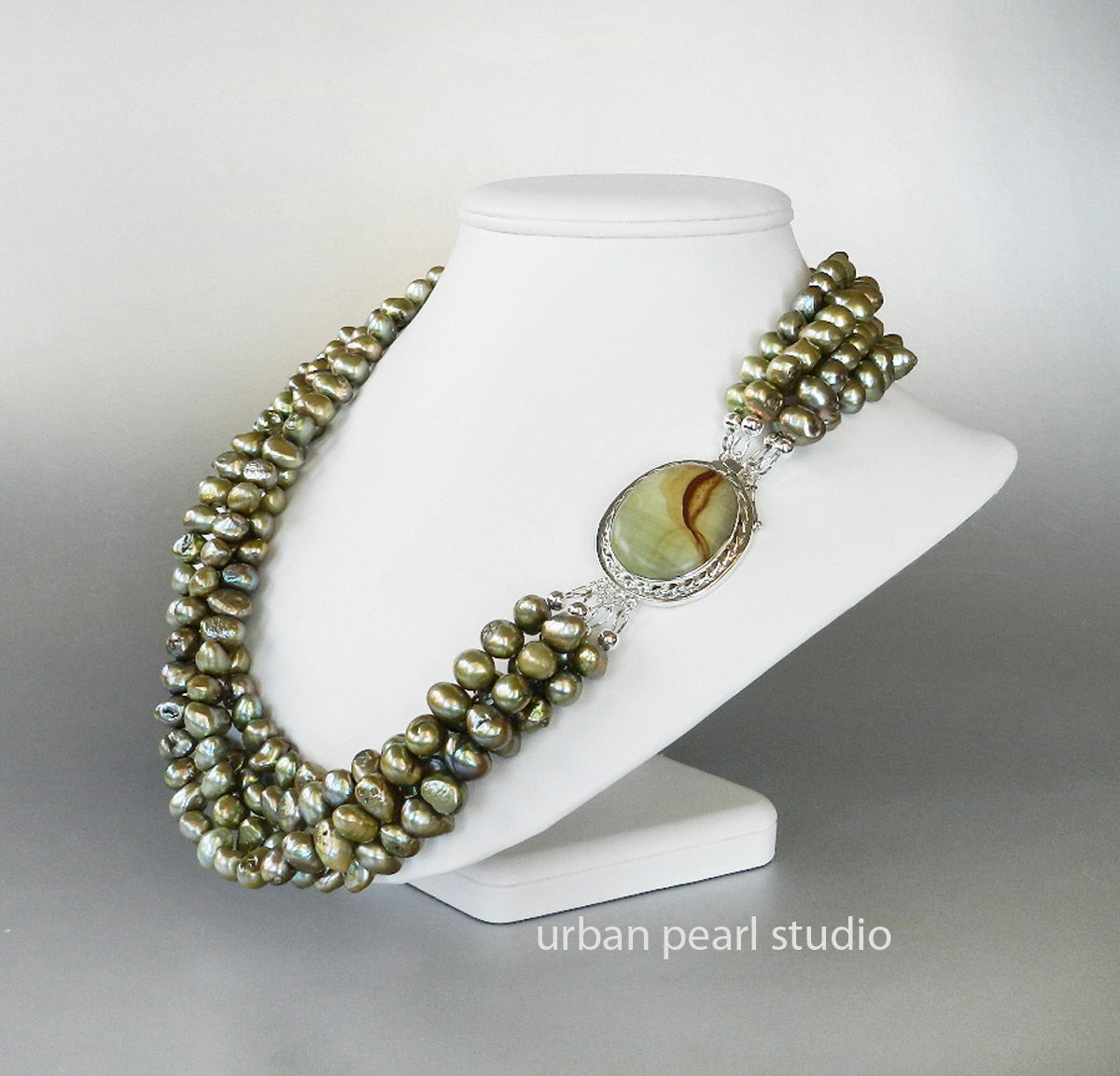 Olive Sage Green Pearl Necklace Earrings Set Mother of Bride Necklace