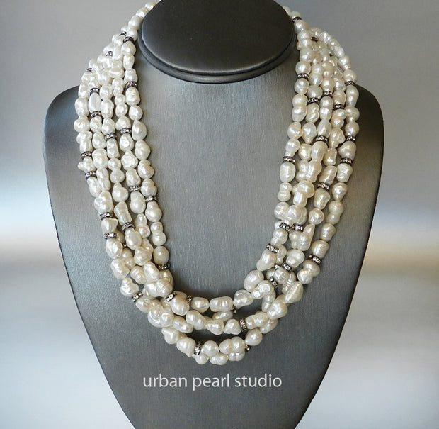 Multi Strand Pearl Necklace Baroque Pearls Black and White Multistrand Necklace