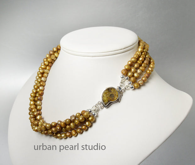 Multi Strand Gold Pearl Necklace Ammonite Nautilus Shell Gemstone Clasp