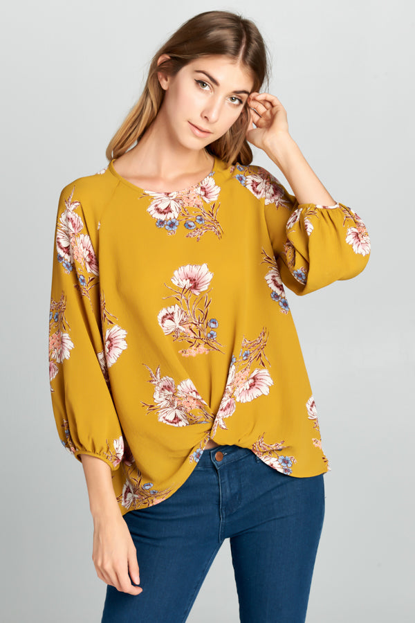 3/4 Sleeve Floral Front Tie Blouse