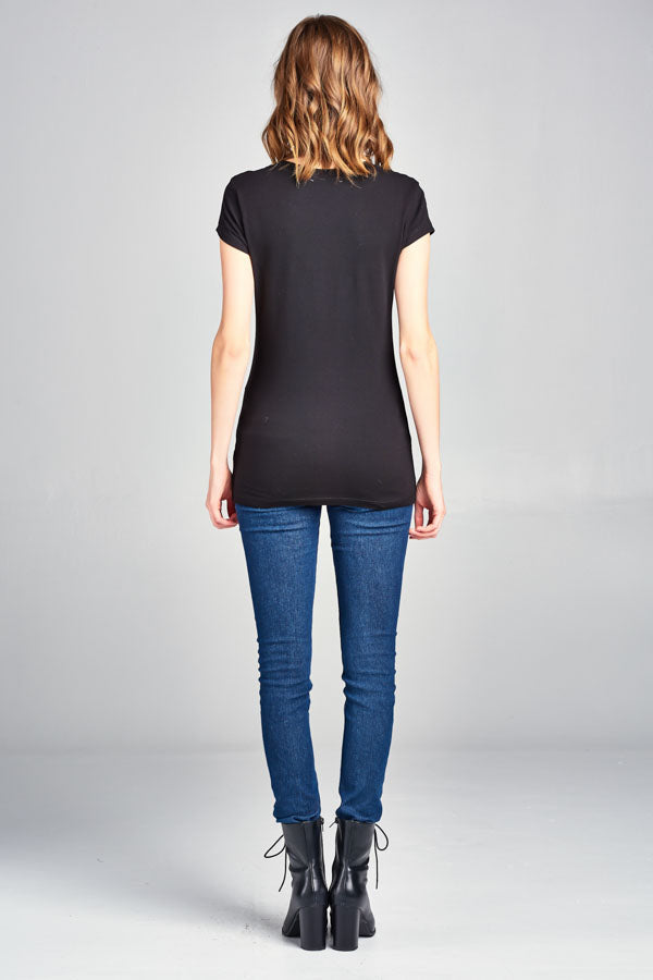 Crew Neck Cap Sleeve Top, tops, Femme, tresics