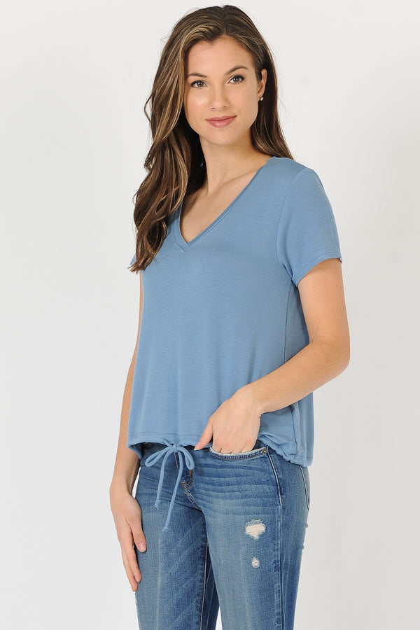 Set In Sleeve V-Neck Top