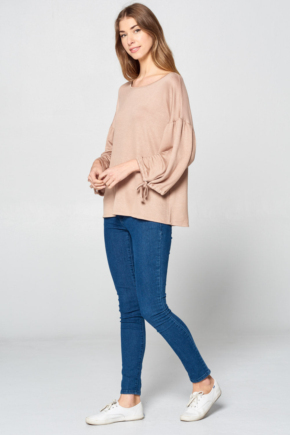 3/4 Bubble Sleeve Boxy Top