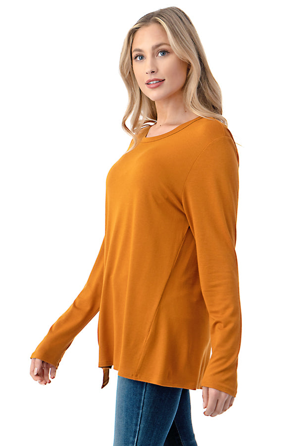 Long Sleeve Front Tie Top