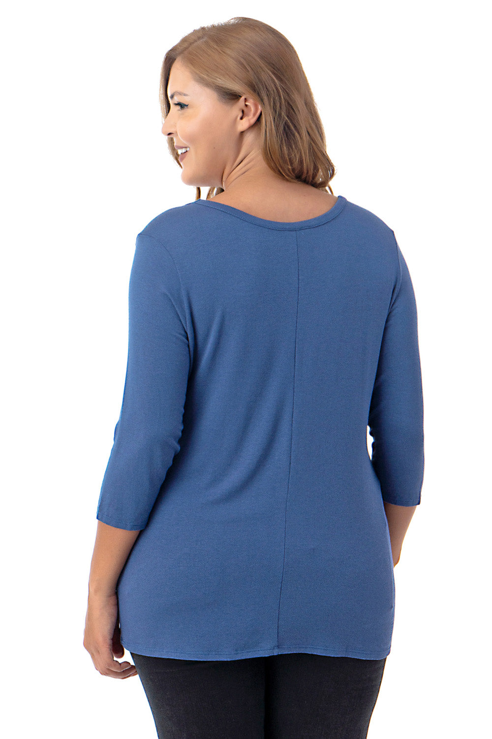 Plus Size Shoulder Ruched 3/4 Sleeve V-Neck