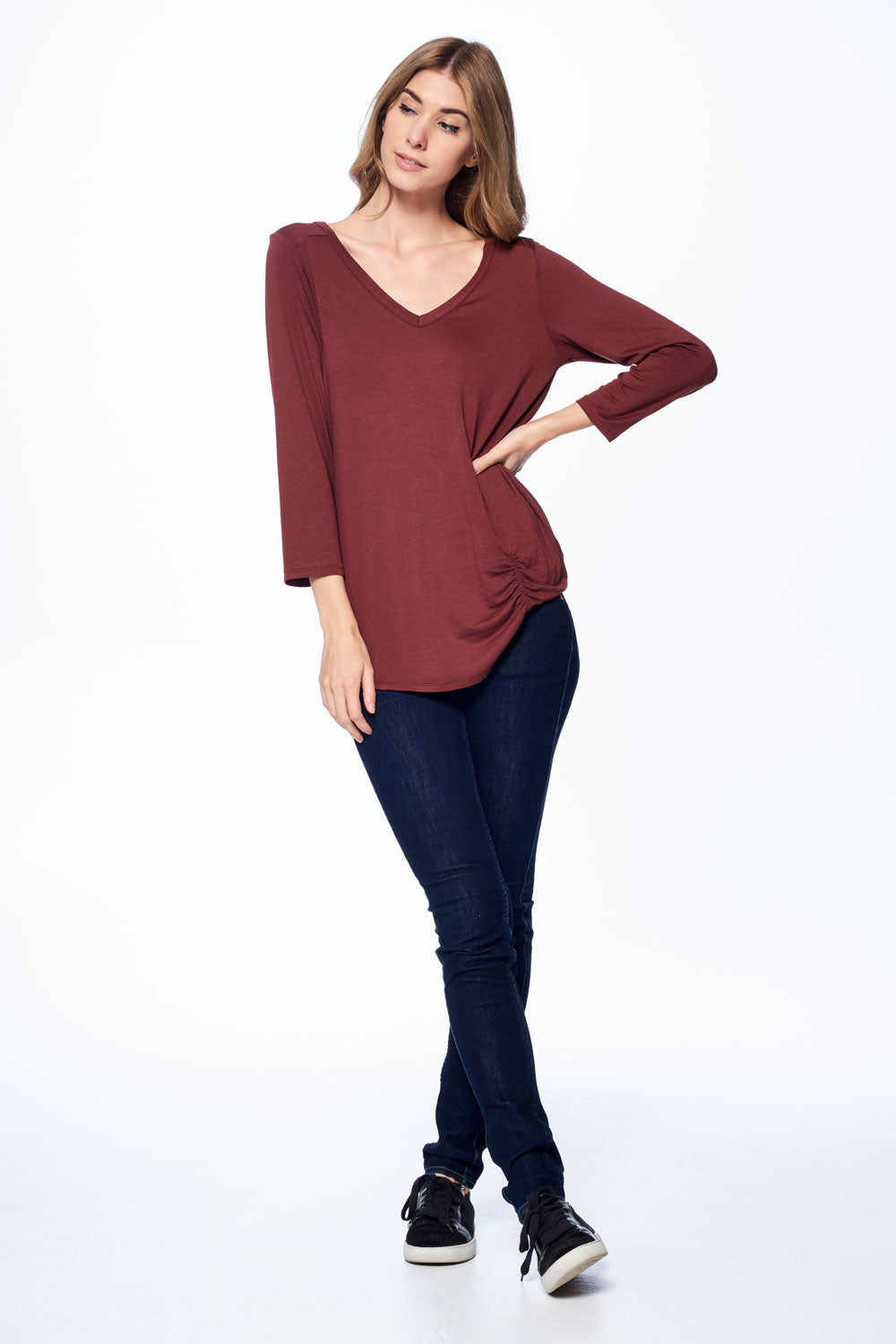 Front Side Ruching V-Neck Top
