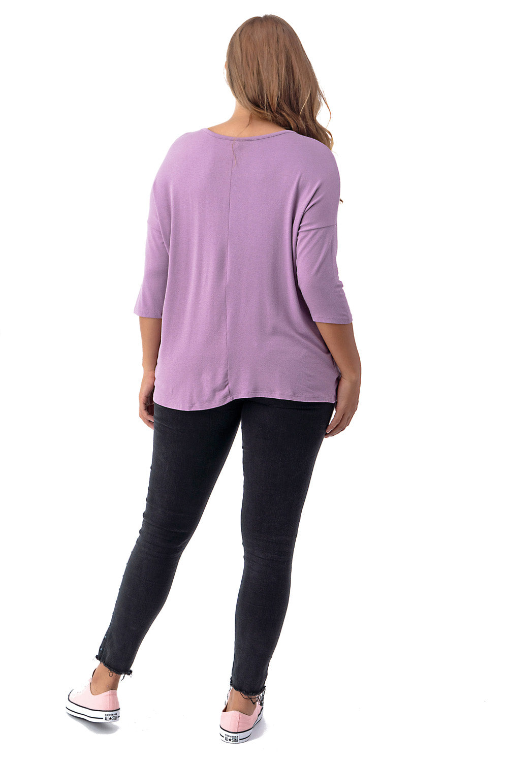 Plus Size 3/4 Sleeve Front Twist Dolman Top