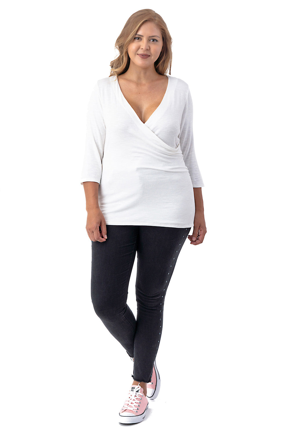 3/4 Sleeve Surplice Top