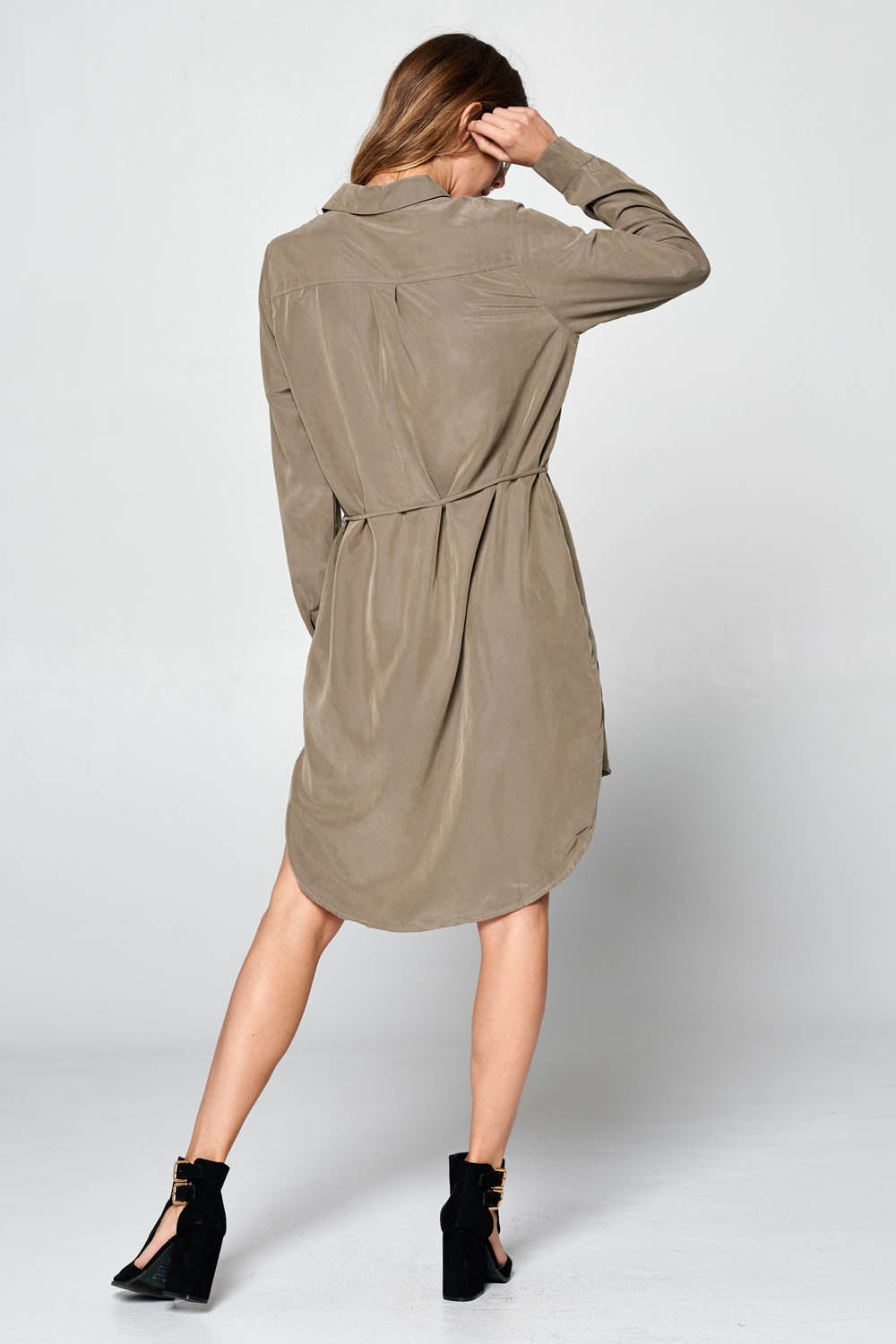 Hi-Low Dress With Drawstring