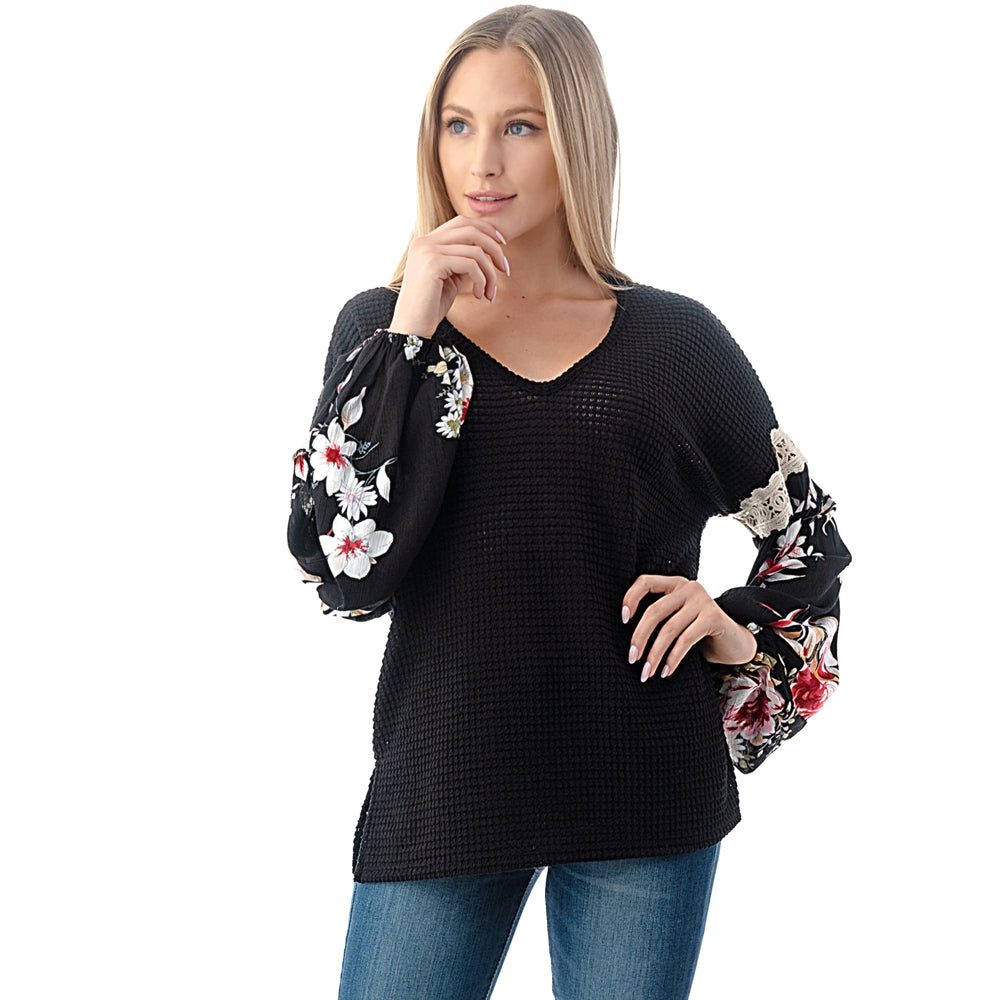 V-Neck Mix Media Top
