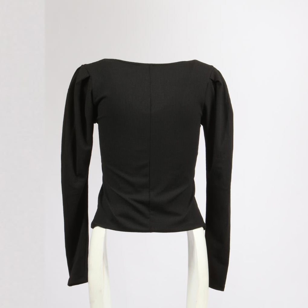 Rounded V-Neck Top W/Pleats