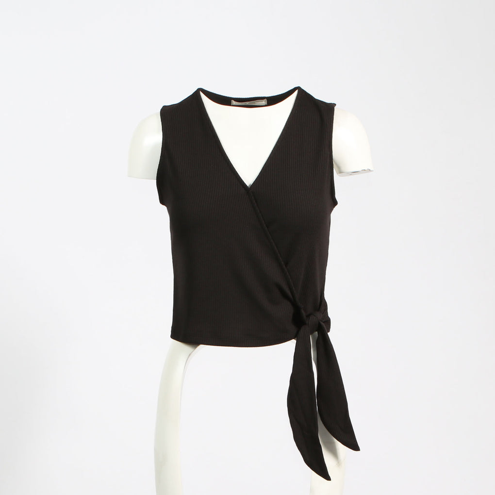 Surplice Crop Top W/Tie Detail