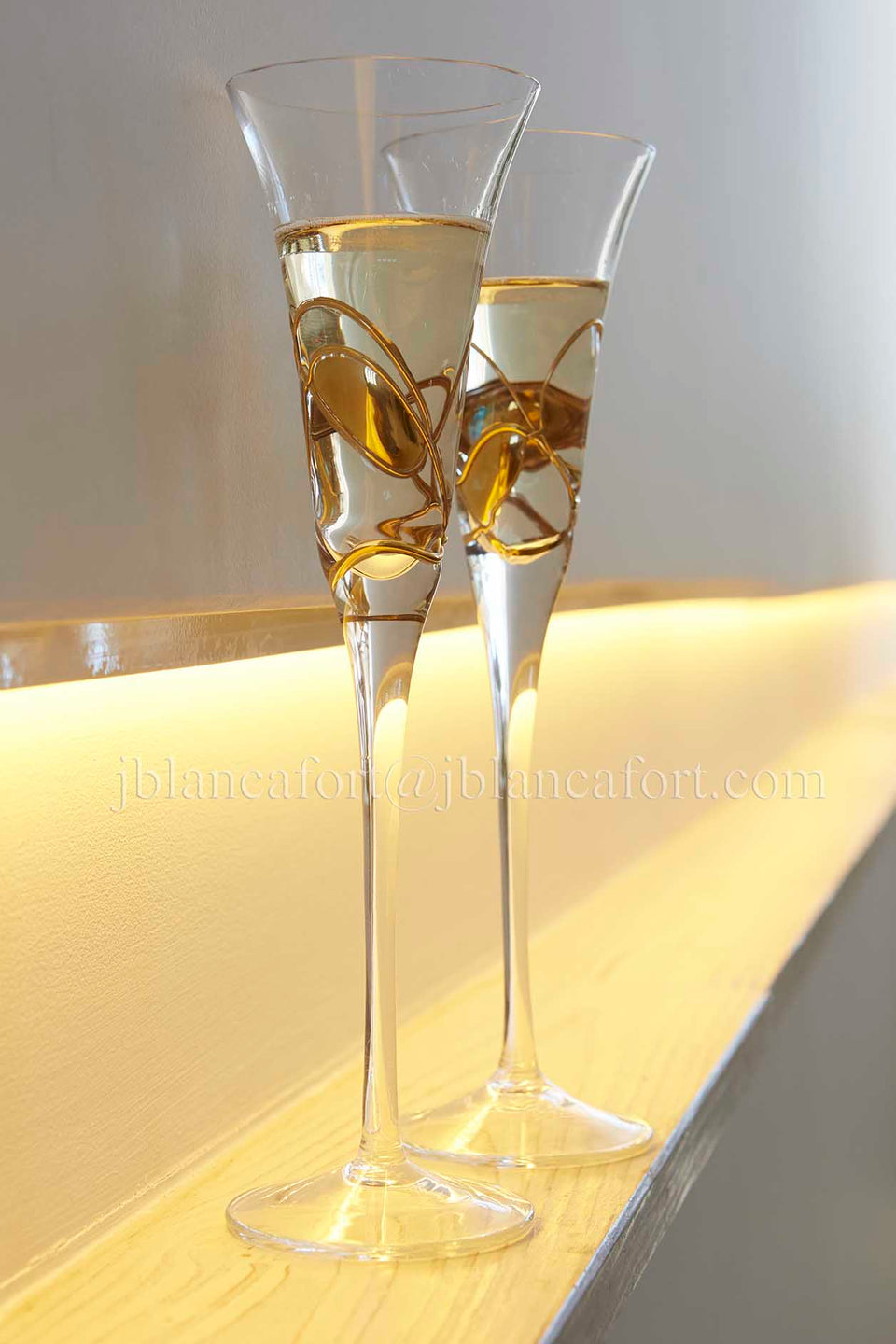 'BARCLEONA NIGHT' Gold Line, Champagne Flute