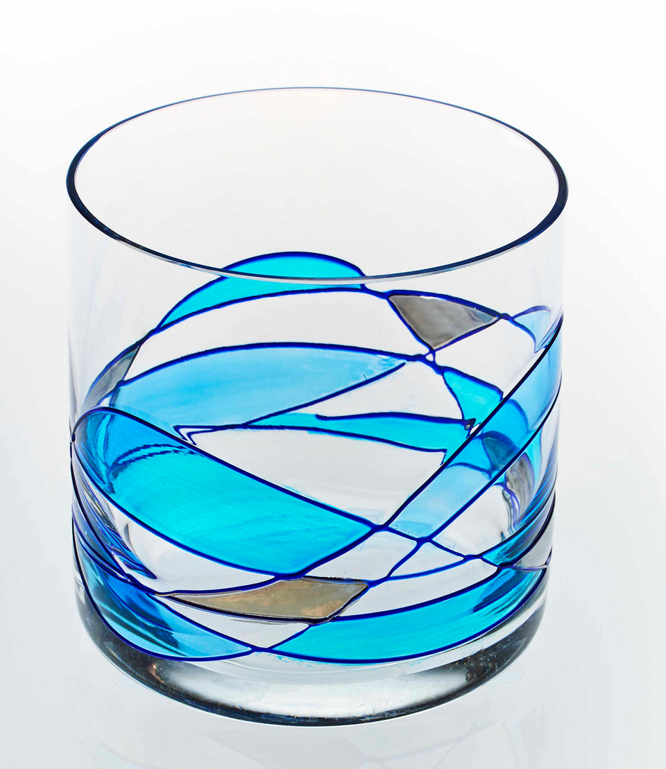 'MEDITERRANEAN' Blue Line, 12oz Whiskey Glasses