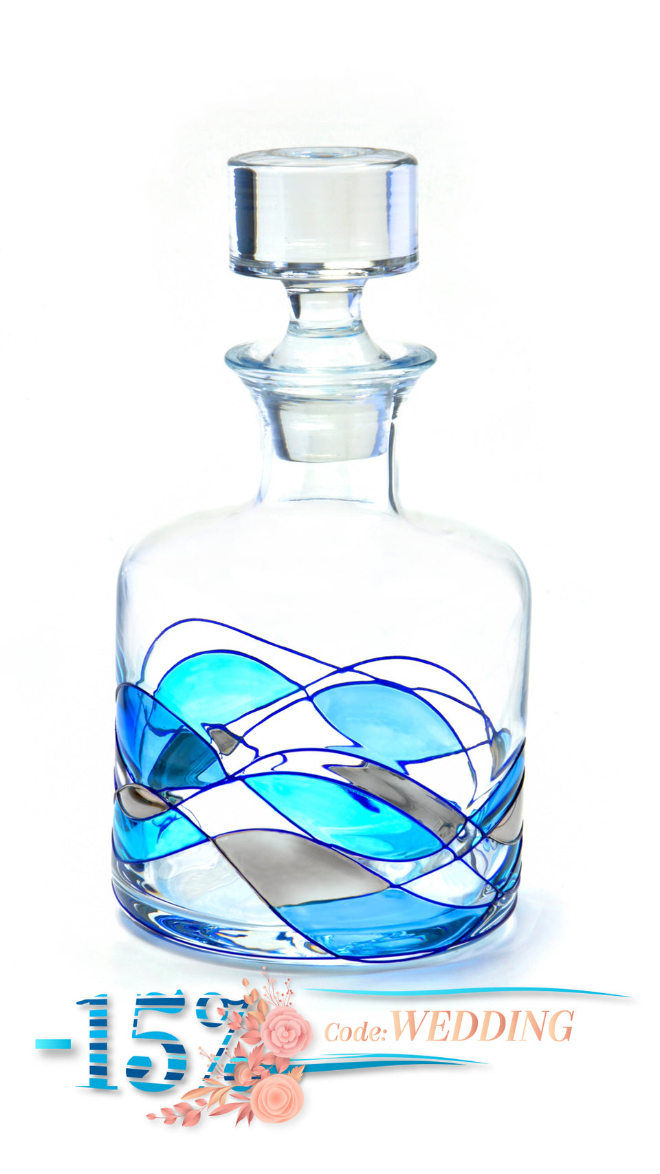 'MEDITERRANEAN' Blue Line, 55oz Whiskey Decanter