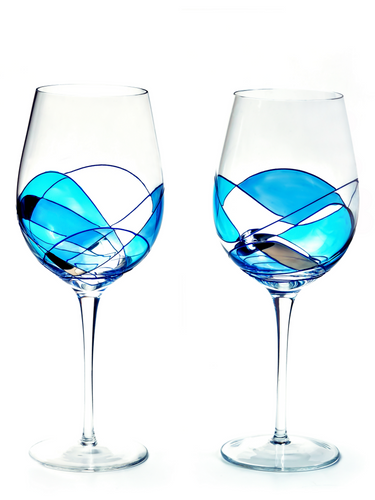 'Mediterranean' Blue Line, Wine Glasses 29 Oz SETS European Crystal