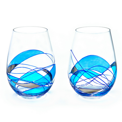 'Mediterranean' Blue Line, Wine Stemless Glasses set European Crystal
