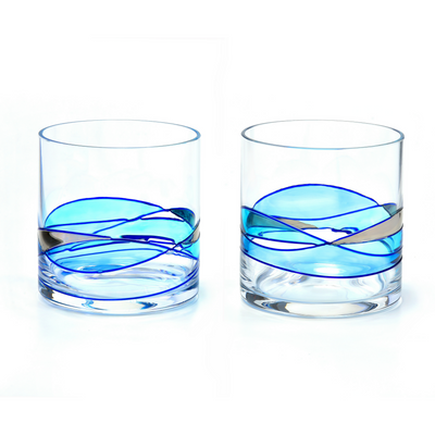 'Mediterranean' Blue Line, Wk Glasses SET 12oz
