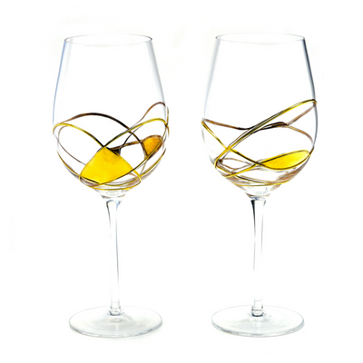 'BARCELONA NIGHT' Gold Line, Large Wine Glass Luxury - Gold 24Kt Dust Hand Painted Unique Mouth Blown