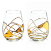'BARCELONA NIGHT' Gold Line, Stemless Wine Glass LUXURY - GOLD 24KT DUST HAND PAINTED UNIQUE MOUTH BLOWN