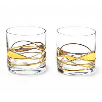 'BARCELONA NIGHT' Gold Line, Whiskey Glass LUXURY - GOLD 24KT DUST HAND PAINTED UNIQUE MOUTH BLOWN