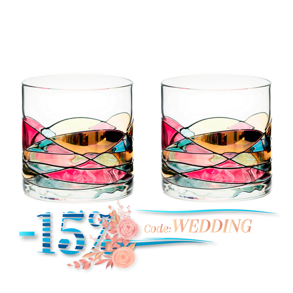 'SAGRADA' Red Line, 12oz Whiskey Glasses