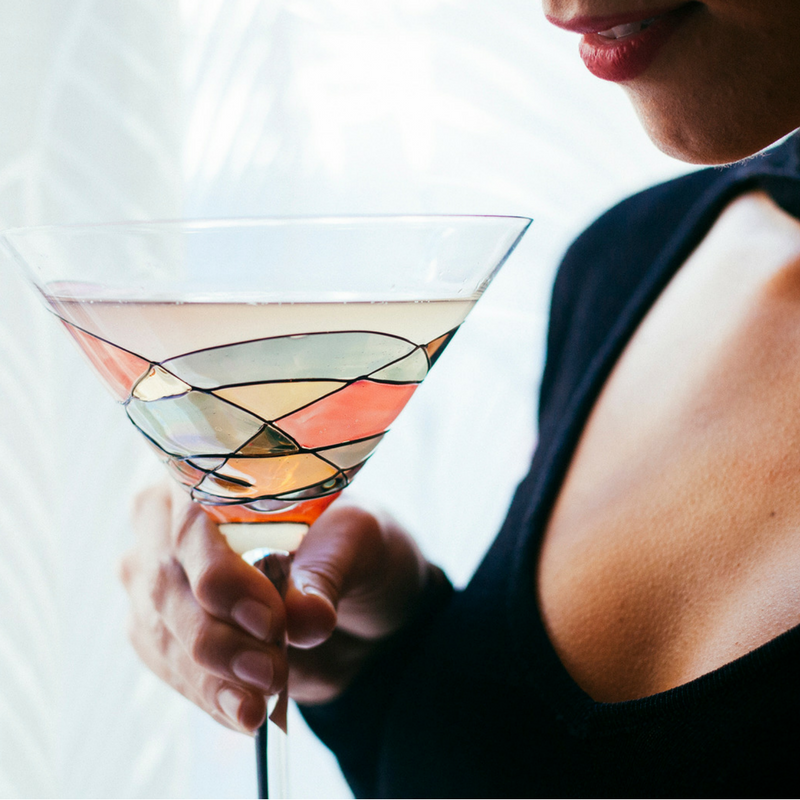 'SAGRADA' Red Line, 12oz Martini Glasses