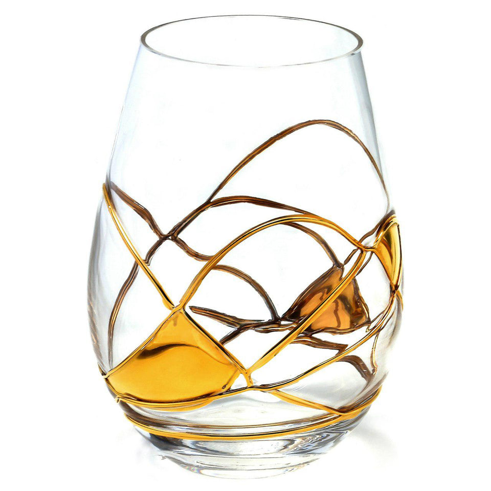 'BARCELONA NIGHT' Gold Line, 21oz Stemless Wine Glass
