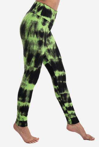 Leggings Textured M35 Tie Dyed Green/Black