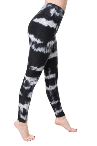 Leggings Textured M35 Tie Dyed Black/White
