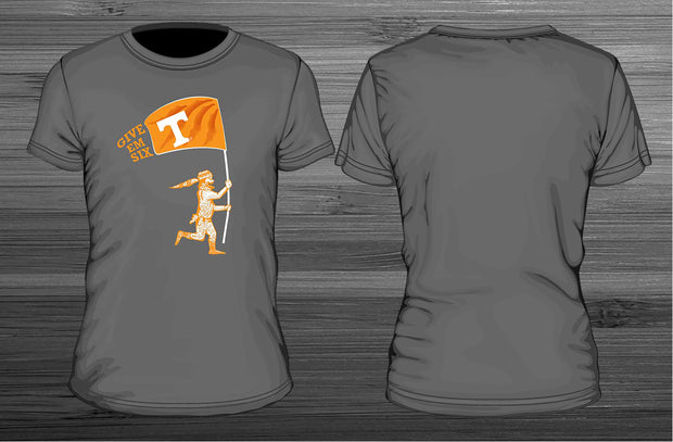 university of tennessee give em six t-shirt designed by tiffany waddell